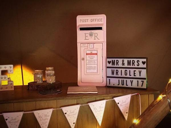 pink post box, pink postbox, post box hire, wedding postbox