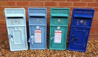 Blue Royal Mail ER Wedding Post Box