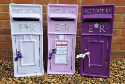 wedding post box, post box hire, purple box, er post box, wedding hire, purple wedding, purple postbox, postbox hire, wedding postbox