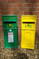 NCFC football yellow and green Royal Mail ER Wedding Post Box