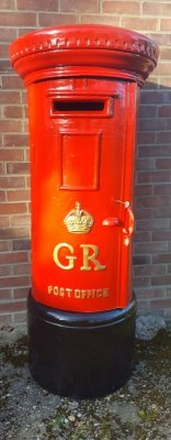 Full Size White Royal Mail GR Pillar Post Box for Weddings and Events