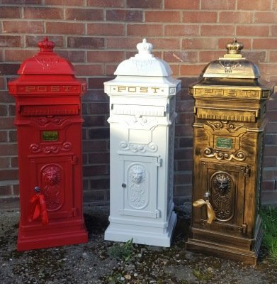wedding postbox, gold post box, tall post box, floor standing post box, floor postbox, gold postbox, wedding post box, norwich postbox, postbox hire
