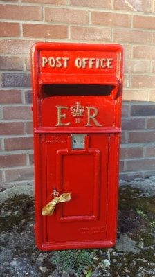 cast iron post box, cast iron postbox, wedding postbox, red post box, red post box