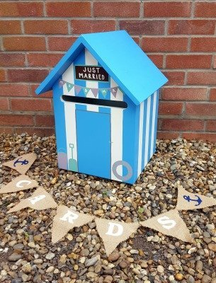 Wooden Beach Hut Wedding Post Box