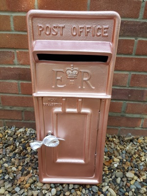 rosegoldwedding, rose gold post box