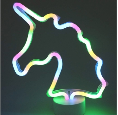 bright coloured neon unicorn light