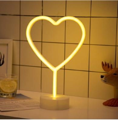 white love heart neon light