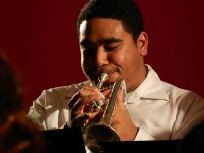 Sam (eastern Stars Concert band) on the cornet.