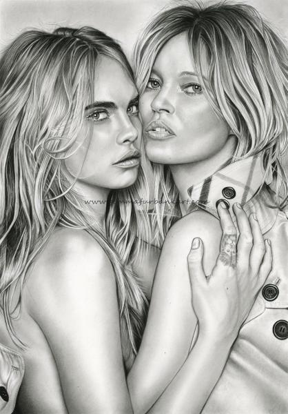 23. Cara Delevingne & Kate Moss.