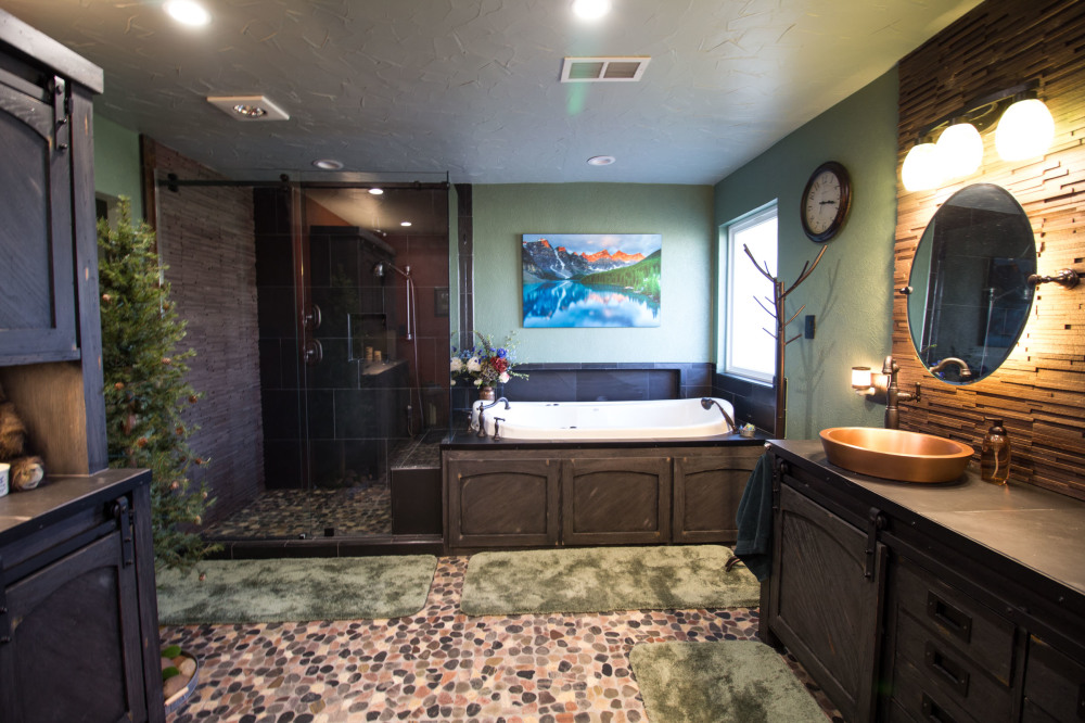 Mountain oasis inspired master bathroom remodel.