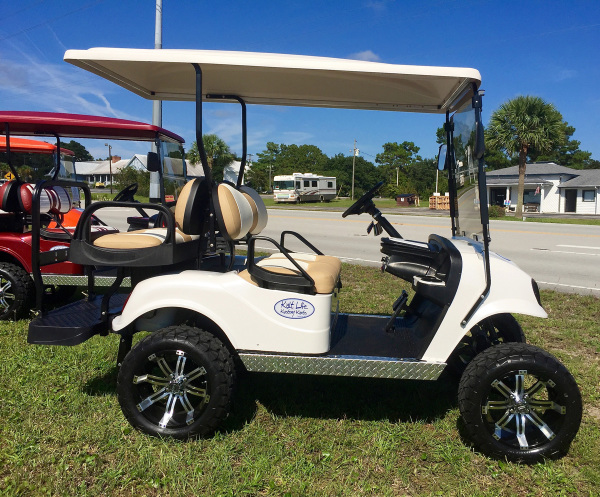 White Golf Cart, Custom Golf Cart in Emerald Isle NC