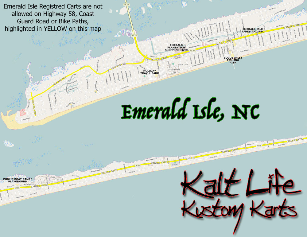 Golf Cart Map for Emerald Isle