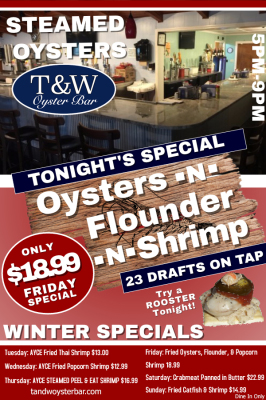 T&W Oyster Bar specials flyer