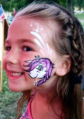 Yuba City face painter, Yuba, Sutter, Butte, Colusa, California, Unicorn face painting