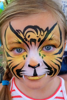Yuba City face painter, Yuba Sutter, Butte, Colusa, California, Lioness face art, lioness face painting, face painting