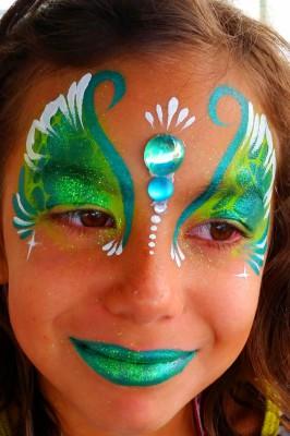 Mermaid face painting, Yuba City face painter, Yuba Sutter, Butte, Colusa, California, Gem cluster, bling, green fairy