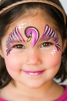 Yuba City face painter, Yuba Sutter, Butte, Colusa, California, Swan face art, face painting, pink swan