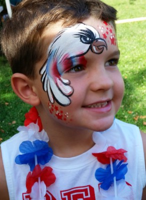 Yuba City face painter, Yuba Sutter, Butte, Colusa, California, American eagle, eagle, face painting, face art