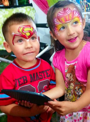 Yuba City face painter, Yuba. Sutter, Colusa, Butte, California, Superman face art, Cupcake face painting