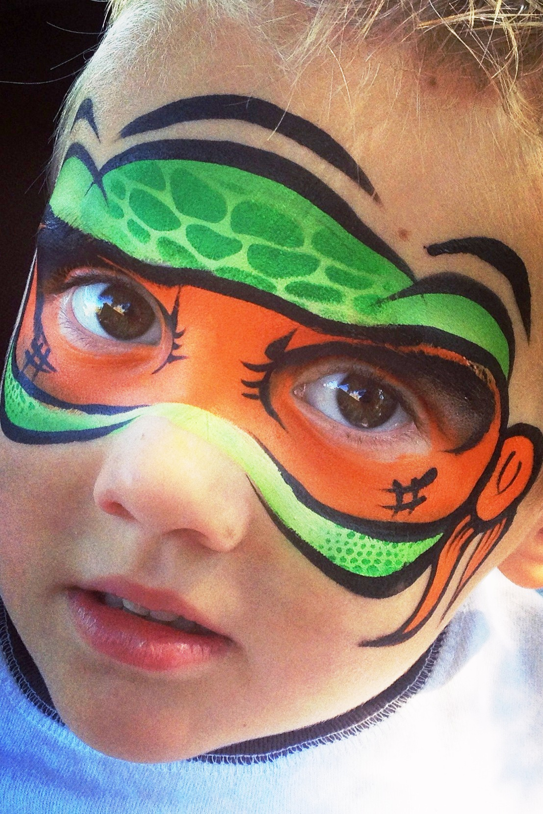 Michelangelo TMNT mask, Face Painting, Ninja Turtles, Yuba City face painter, Yuba. Sutter, Colusa, Butte, California, Orange mask, blue mask, purple mask, red mask