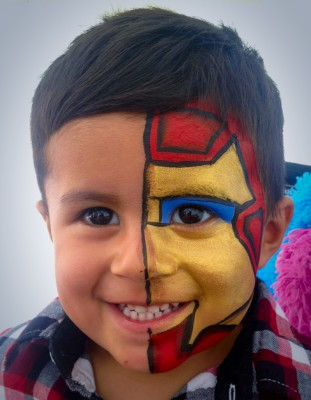 Yuba City face painter, Yuba Sutter, Butte, Colusa, California, iron man face painting, iron man, face art