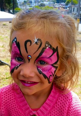 Butterfly face painting, Yuba City Face Painter, Yuba, Sutter, Butte, Colusa, One Stroke Painting, fantasy face paint
