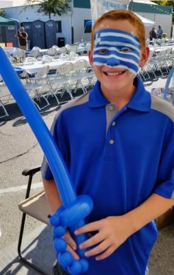 Yuba City Balloon Twister, Balloon art, Yuba, Sutter, Colusa, Butte, Gridley, Live Oak, Sacramento, Walker's Inflatables, inflatable art, Yuba City Face Painter, Greek fest 2015, Greek Festival, Yuba City DBA