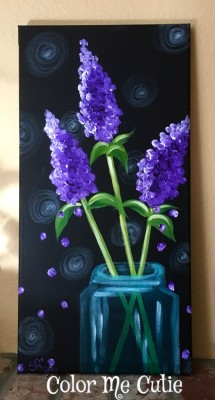 Purple Lilac Canvas Painting Class Option