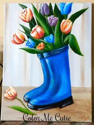 Blue Boots Canvas Painting Class Option