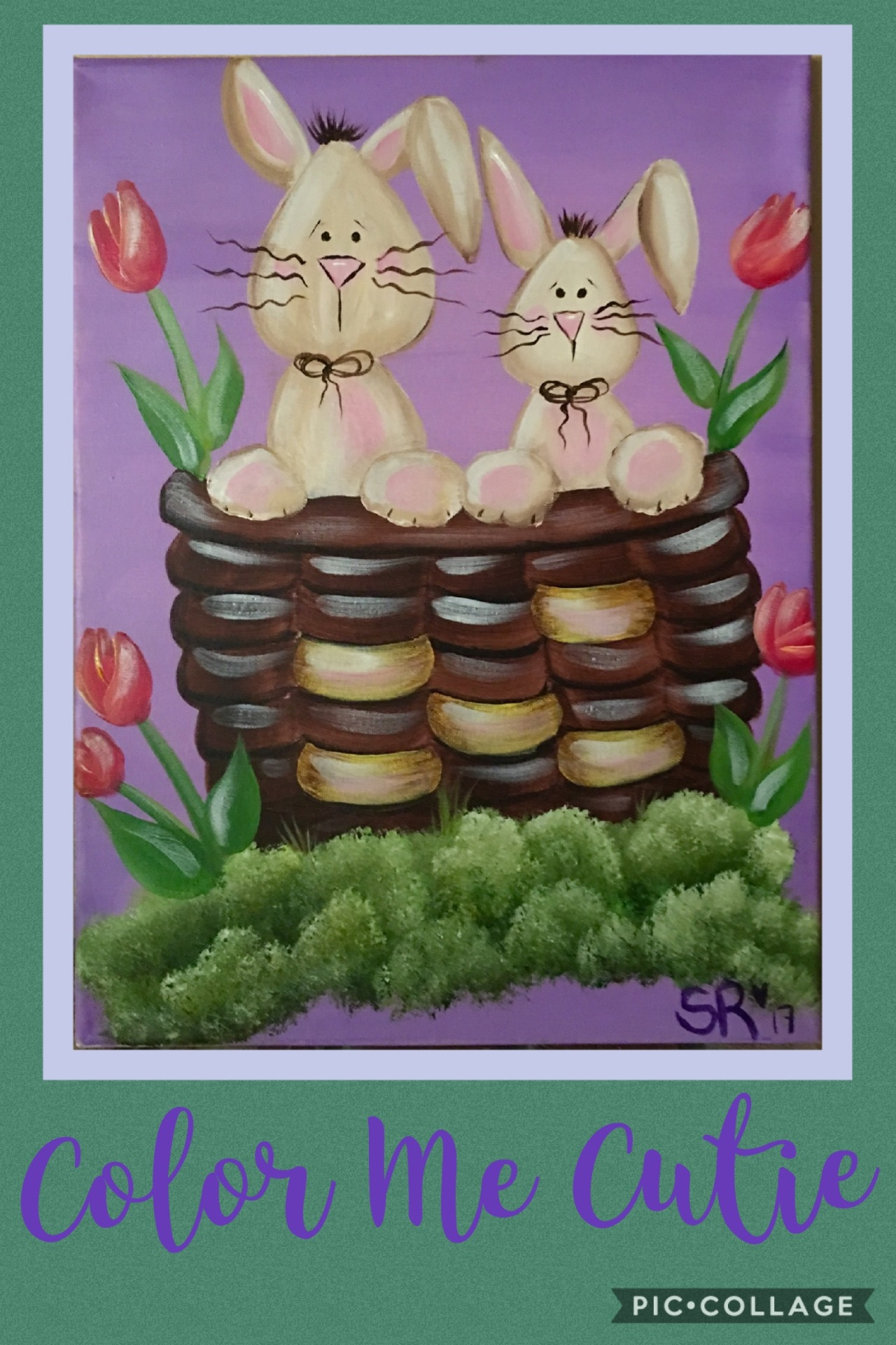 Bunny Basket Canvas Paint CLass Option