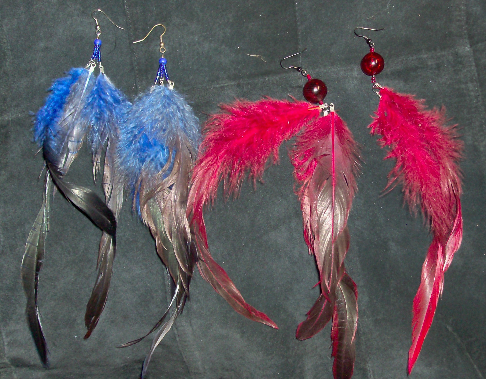 Red and Blue long feather