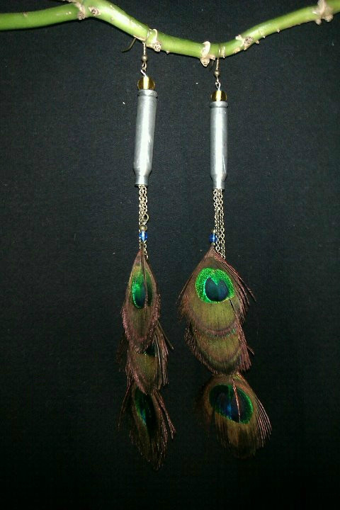 Peacock .38 speacial earrings