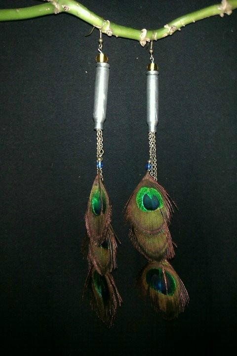 Peacock .38 speacial earrings