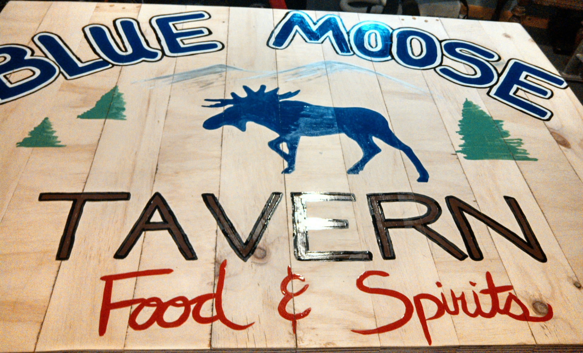 Blue Moose Tavern oil on wood door