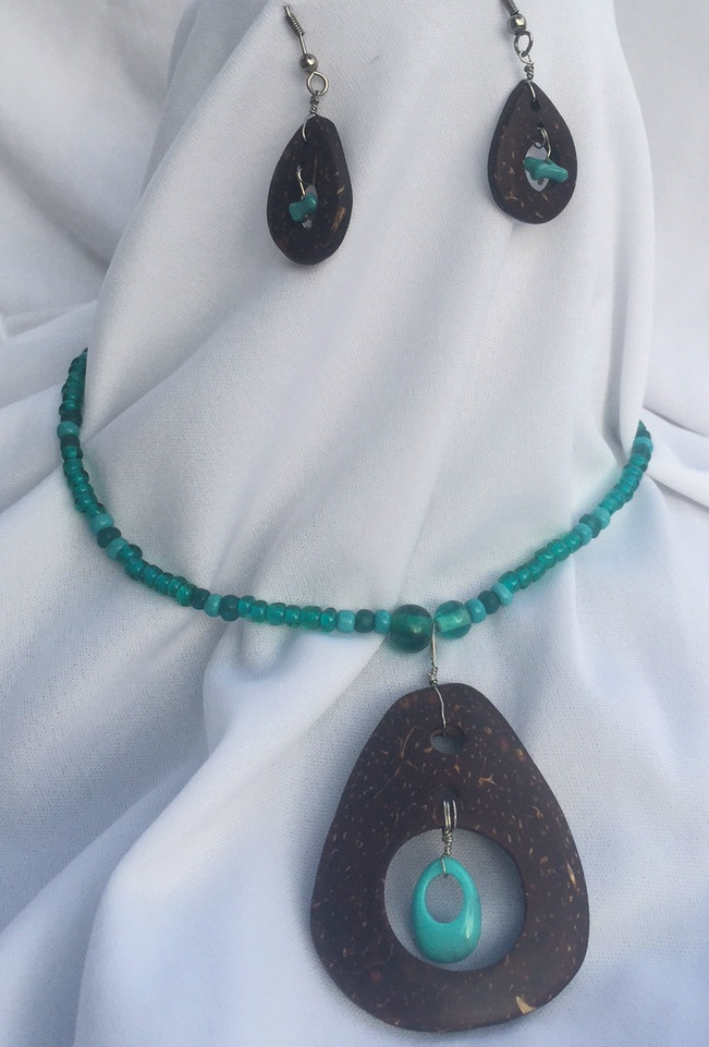 coconut, necklace, earrings, turquoise, ocean