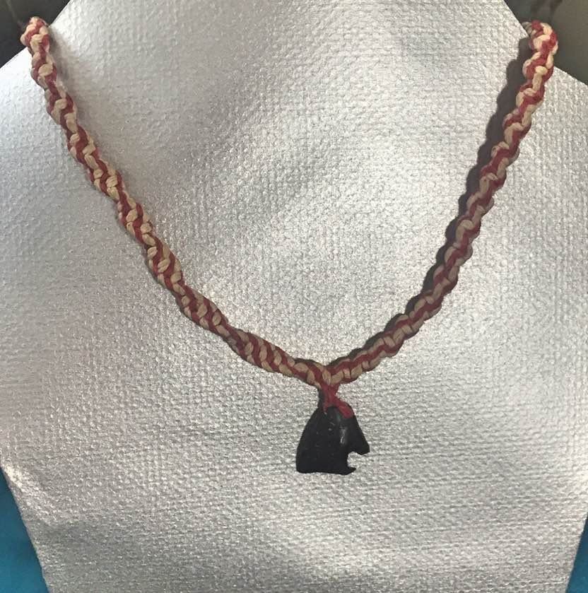 red natural hemp necklace coconut necklace