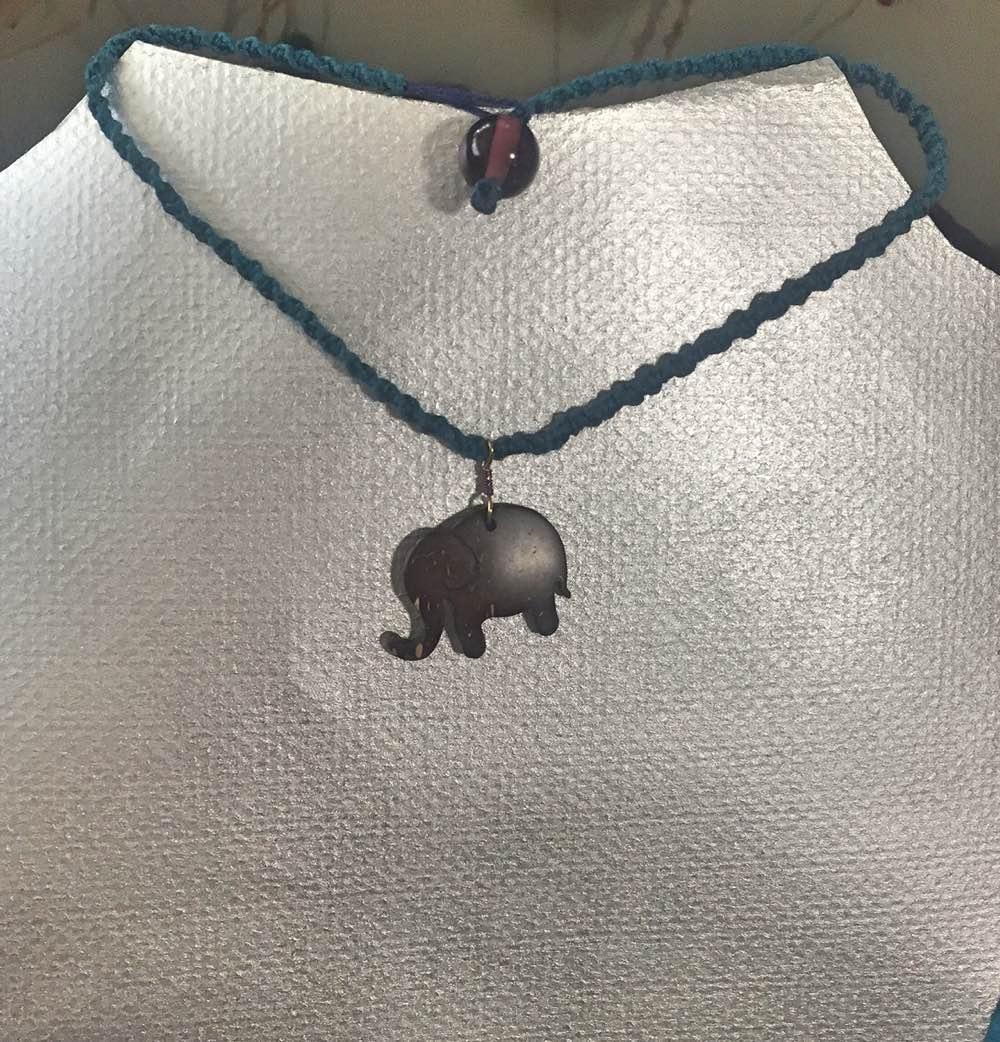 coconut elephant embroidery floss choker