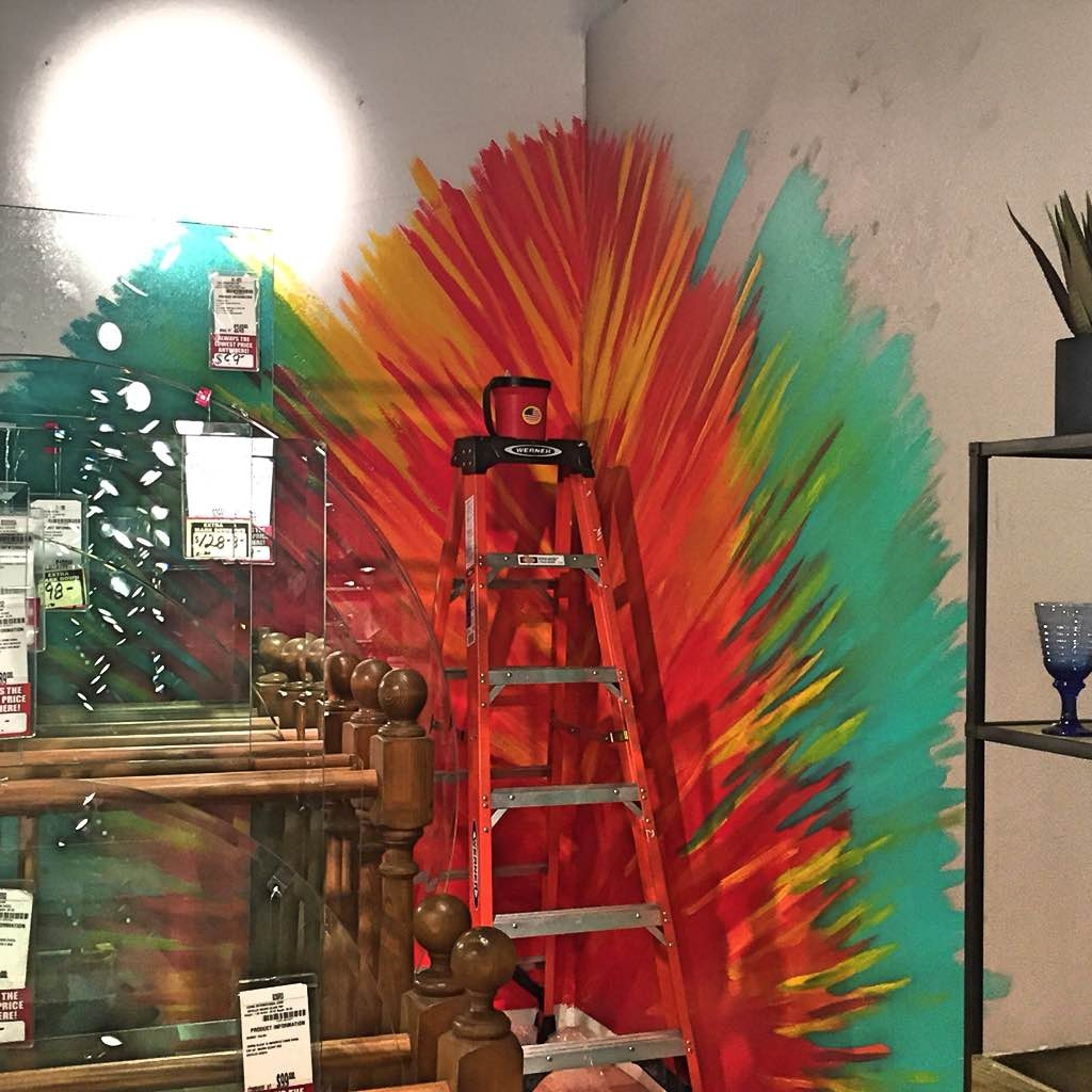 Teal Fire, Burst of color, Mural, Corner