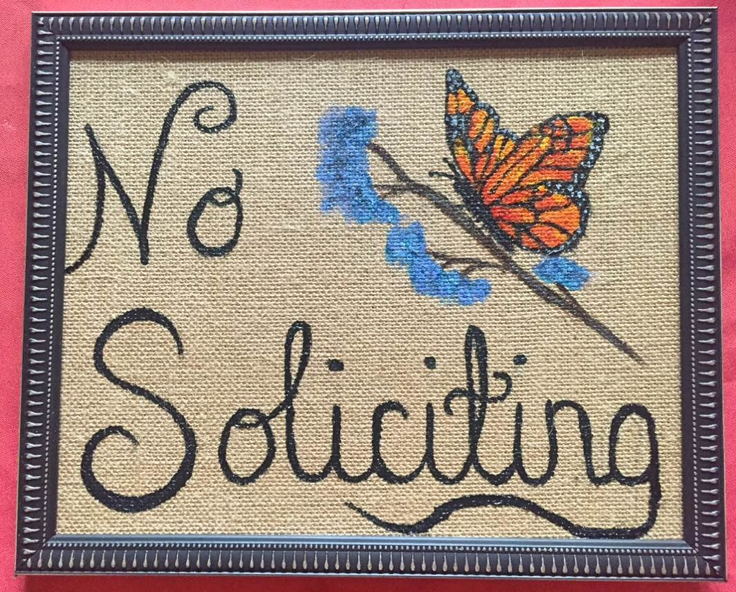 butterfly, no soliciting, butterfly no soliciting, springtime no soliciting, butterfly, acrylic on burlap,