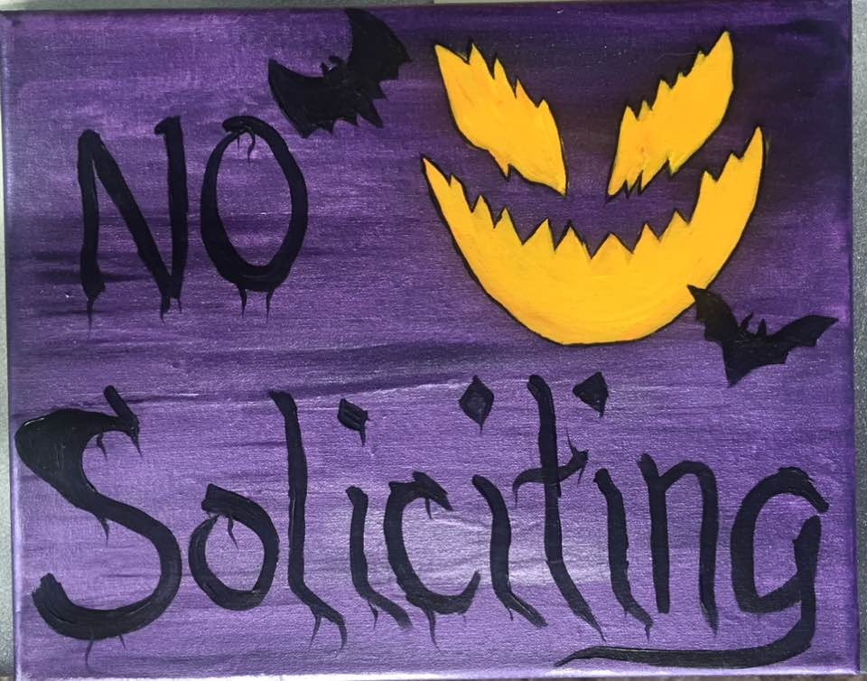 No soliciting, Jack-o-lantern, purple, metallic