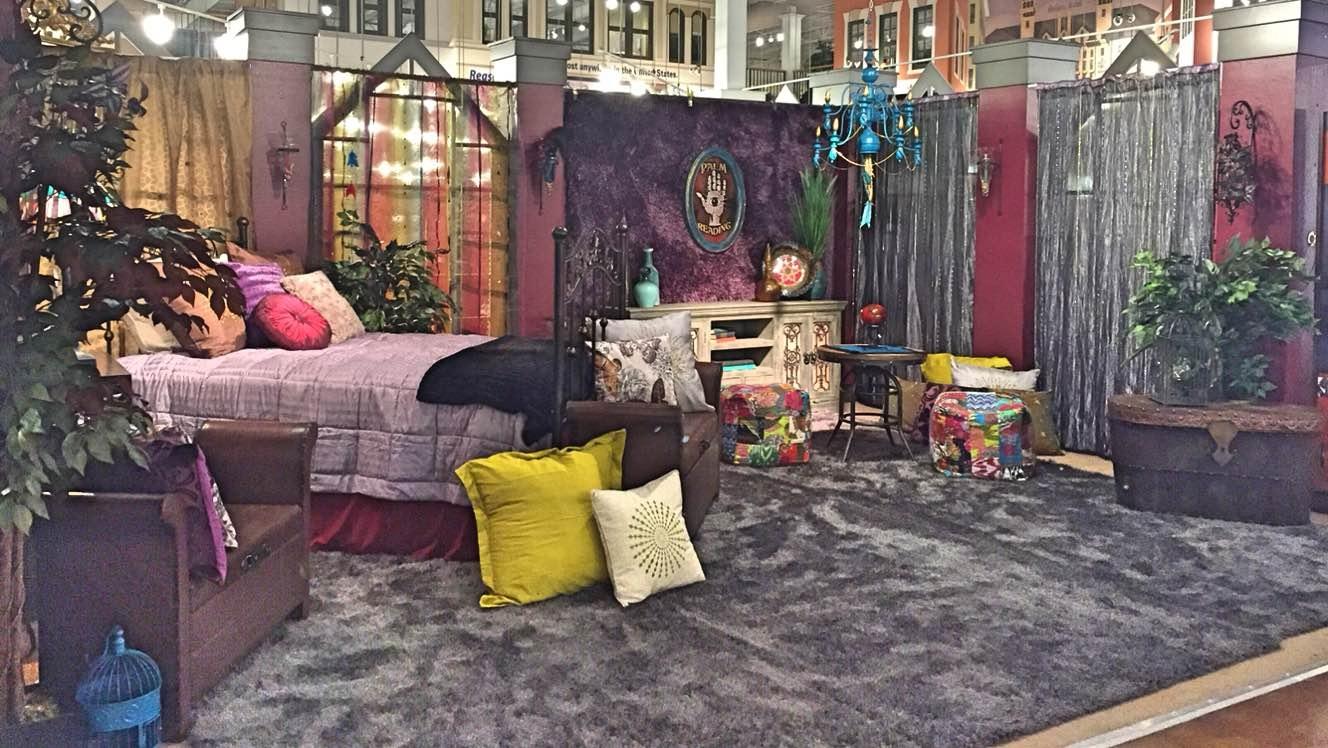 bohemian bedroom, palm reading, teal chandelier,