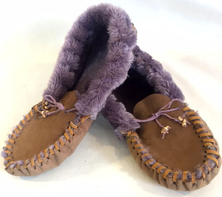 Purple fuzzy slippers, purple fuzzy moccasins,
