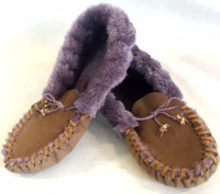 Purple fuzzy slippers, purple fuzzy moccasins,