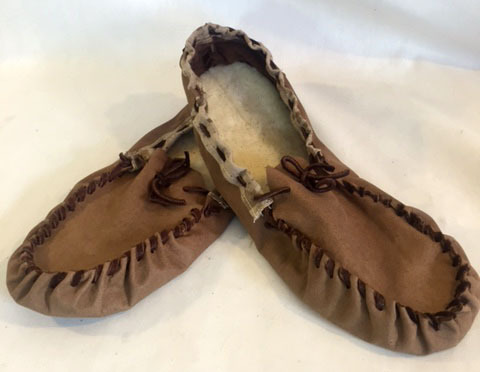 wool sole slippers, brown leather slippers, brown moccasin slippers with wole sole