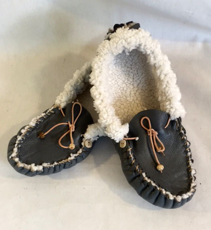 up-cycled leather, up-cycled jacket, up-cycled blanket- up-cycled moccasins, recycled moccasins