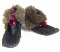 up-cycled fur, up-cycled jacket,up-cycled moccasins,