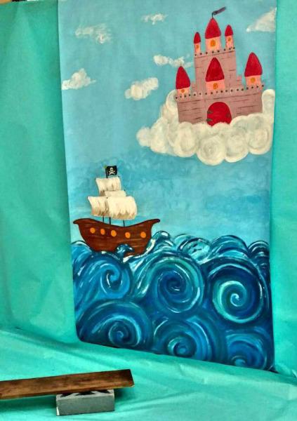 pirate, princess, back drop, photo, cast in the clouds