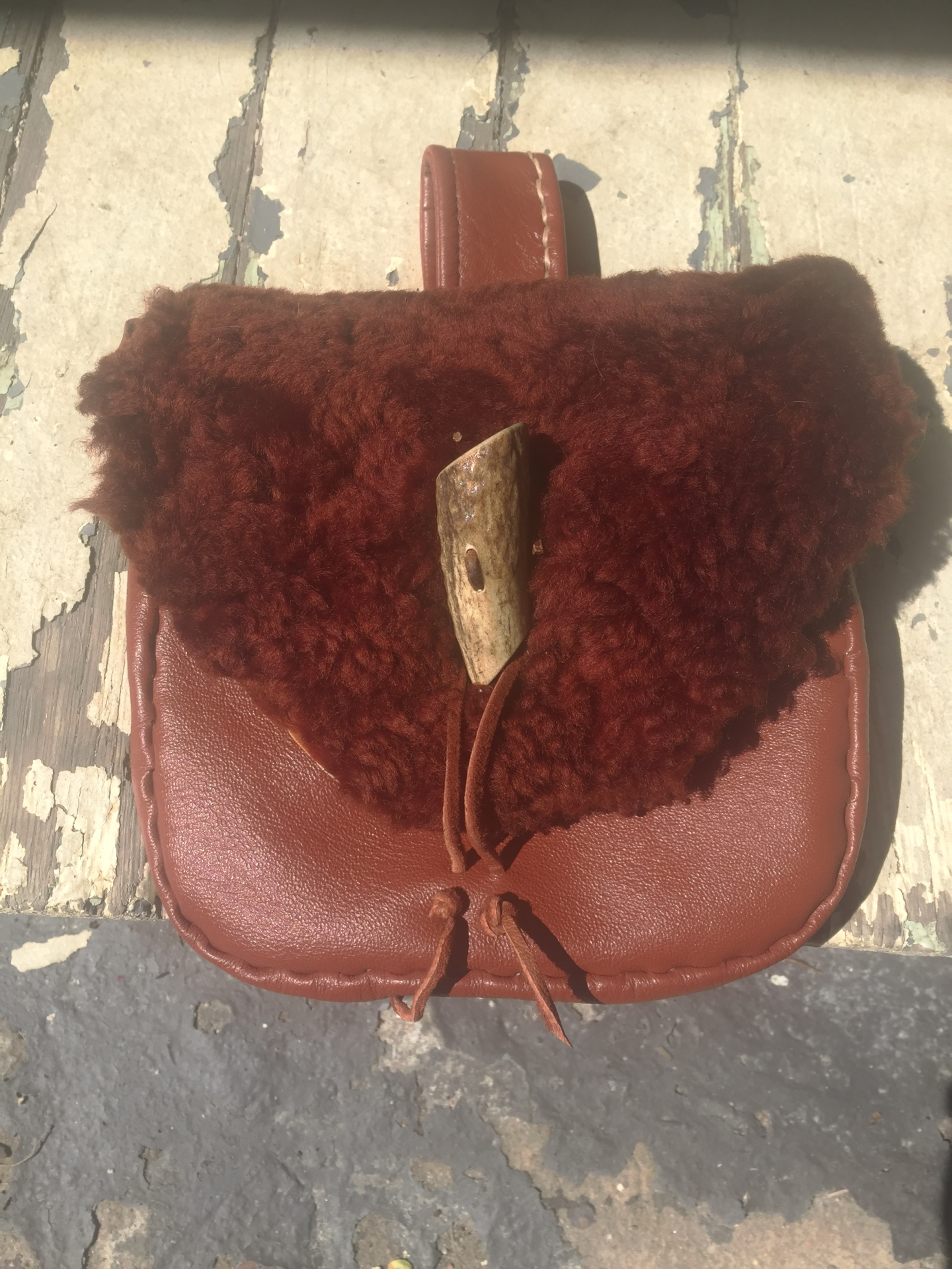 antler button, bison fur, up-cycled bison, up-cycled leather, up-cycled sporran, recycled leather, bison sporran, sporran