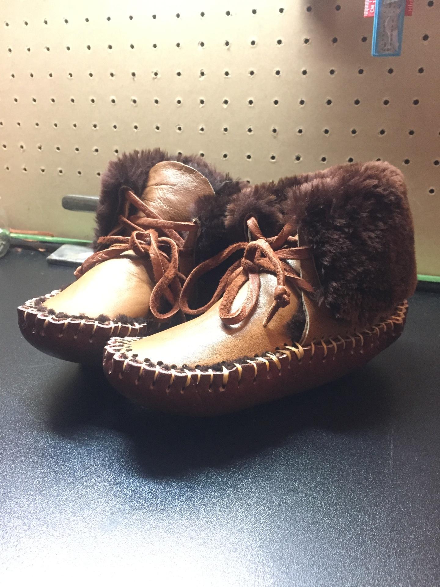 Fur Lined, Children Moccasin, Genuine Leather Moccasin