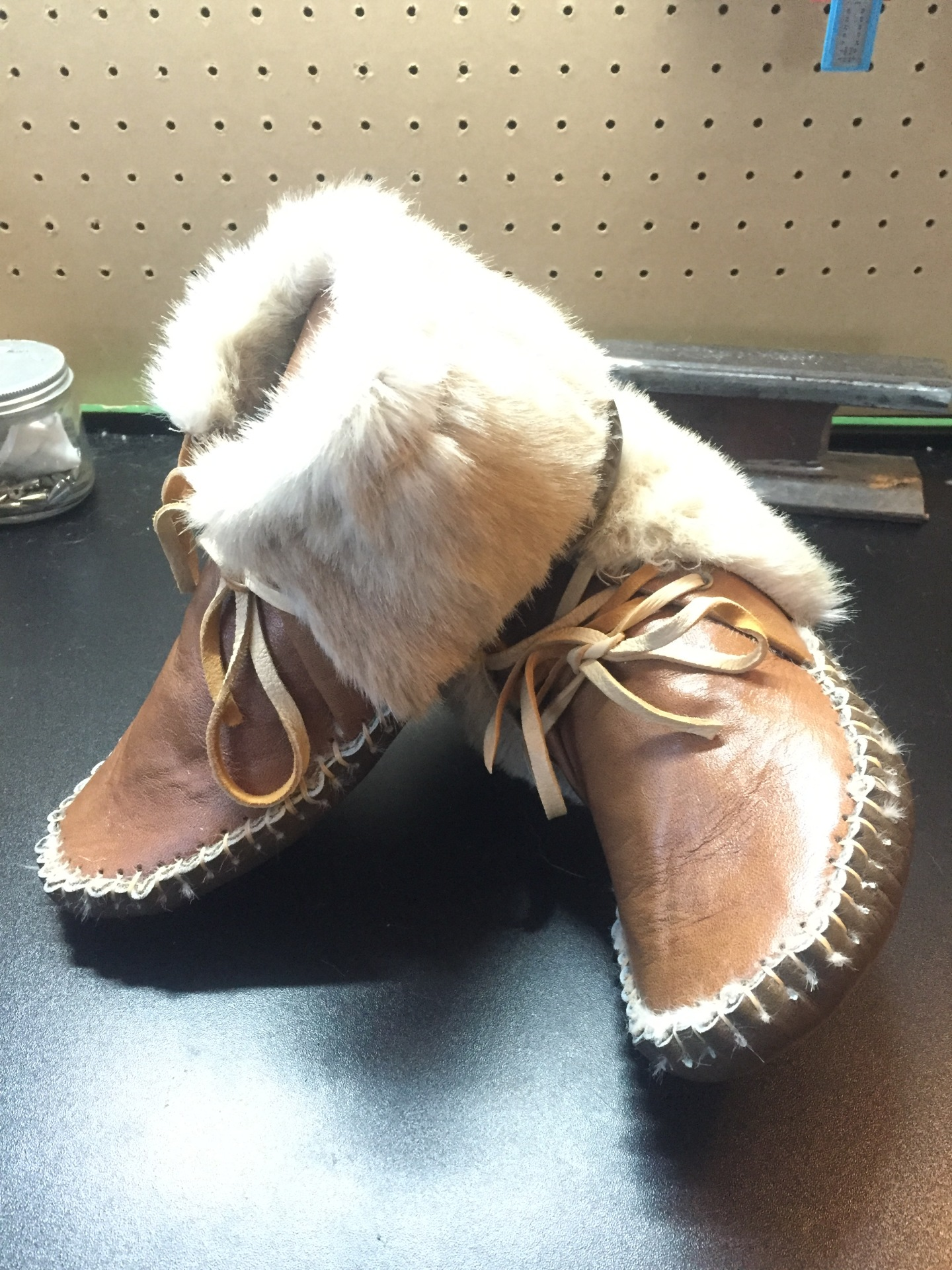Faux Fur, Faux Fur Lined Moccasin, Genuine Leather